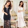 ビジューネック飾り・シースルー・ロングナイトドレス(大きいサイズ)