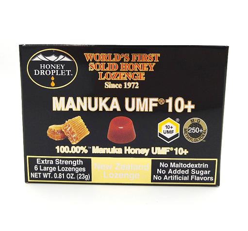 世界初!100%固形蜂蜜【マヌカハニーUMF10+ロゼンジのど飴・6粒】