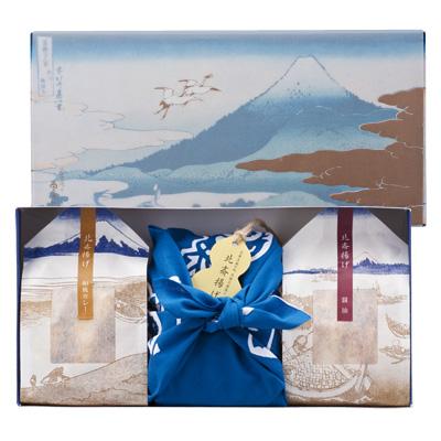 北斎揚げ 冨嶽化粧箱詰合せ 藍地形染つつみ すずめ踊り