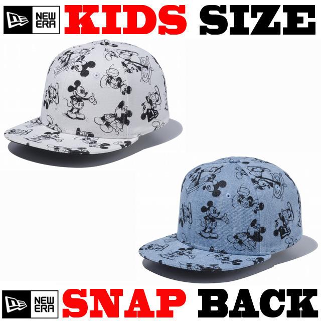 【ニューエラ チャイルドサイズ 】 NEW ERA CHILD 9FIFTY DISNEY HAND DRAWN PRINT CAP 【サイズ調整可能なスナップバックモデル! 】