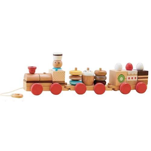 森のあそび道具シリーズ【おやつ列車byパティシエ】エドインター/積木/木のおもちゃ/出産祝い