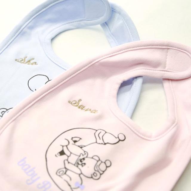 babyRotacoオリジナルスタイ【ブルー/ピンク】名入れ/よだれかけ/出産祝い/ネコポス