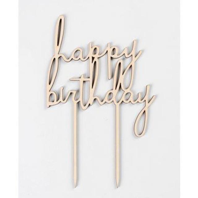 木製ケーキトッパー【happybirthday】誕生日/飾り付け/オーナメント/デコレーション/cake