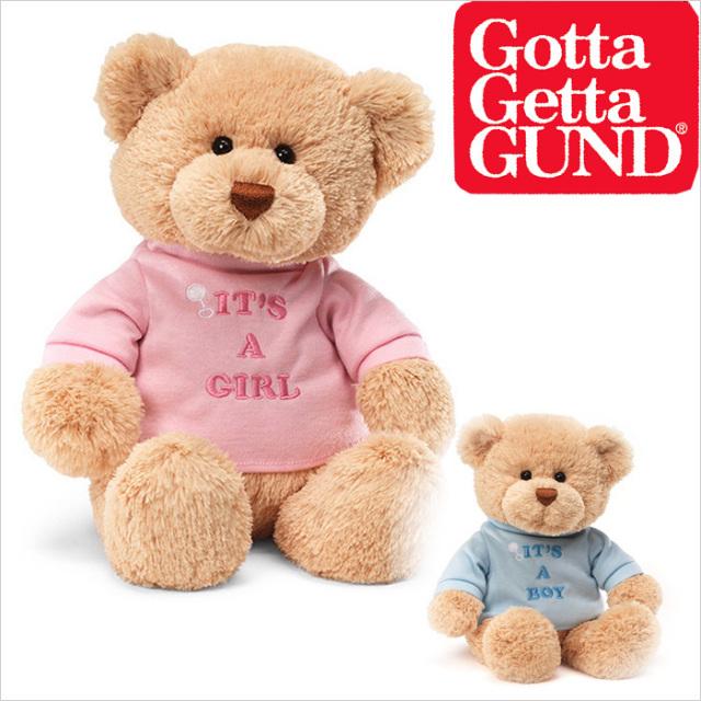 [GUND]Tシャツべア【ブルー/ピンク】テディベア/ぬいぐるみ/出産祝い