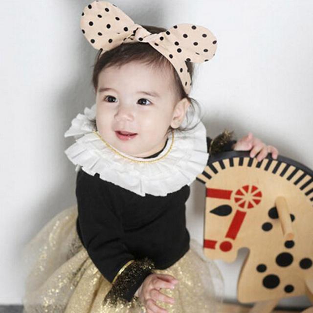 ベビーカチューシャ【ベージュドット】アクセサリー/ヘアバンド/髪飾り/赤ちゃん/女の子/出産祝い/ハーフバースデー