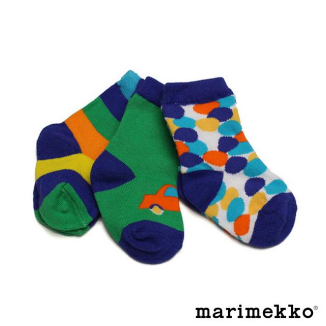 マリメッコベビーソックス3足セット【blue】marimekko/KIPIN/42327/ブーブー/男の子/出産祝い