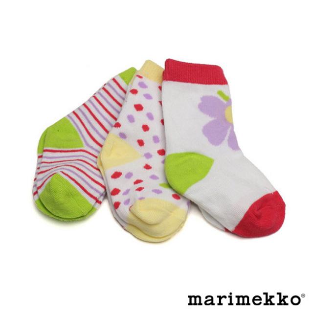 マリメッコベビーソックス3足セット【pink】marimekko/KIPIN/42319/ピエニウニッコ/女の子/出産祝い