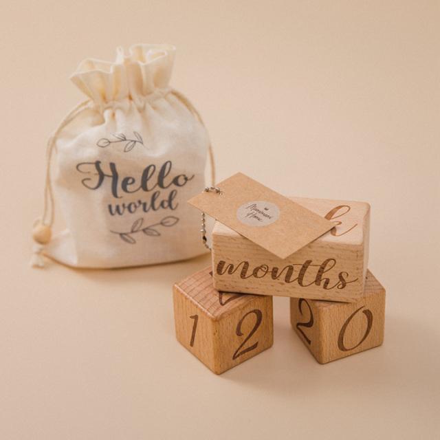 木製マイルストーンブロック【1color】月齢フォト/成長記録/誕生日/記念写真/出産祝い/赤ちゃん