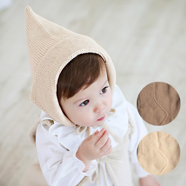 こびとさんニット帽【ベージュ/ブラウン】帽子/赤ちゃん/出産祝い/ネコポス