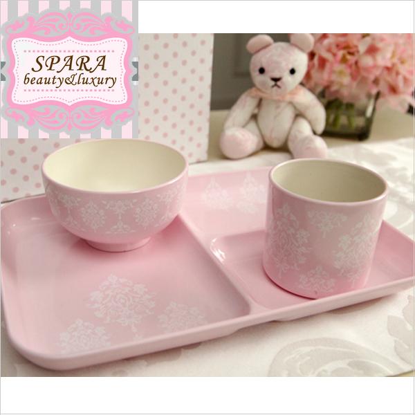 スパラSPARAコラボ ダマスク柄ベビー食器セット【ピンク】女の子/出産祝い/お食い初め/電子レンジ可