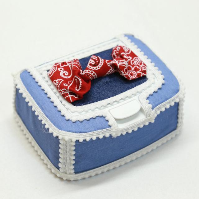 [出産祝い]〔DENIM〕おしりふきケース単品【red/blue/simple】手口拭きケース/ワイプケース/プレゼント