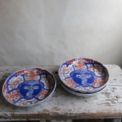 【Vintag/ヴィンテージ】色絵/鳳凰牡丹 稜花小皿3枚セット