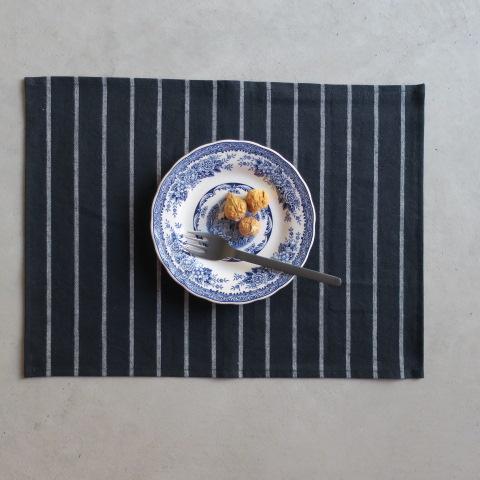 《メール便可》【亀田縞】ランチョンマット ストライプ/ネイビー