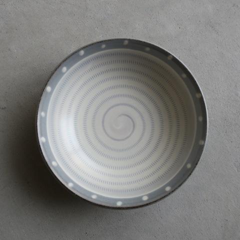【小石原焼】上鶴窯/5寸浅鉢ドット&飛びカンナ/グレー