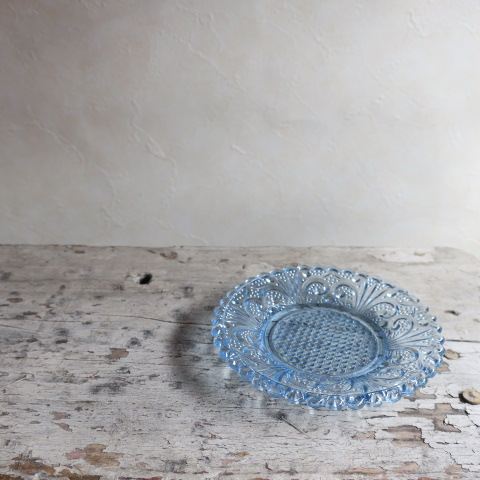 【Vintage/ヴィンテージ】プレスガラス 丸皿/ブルー