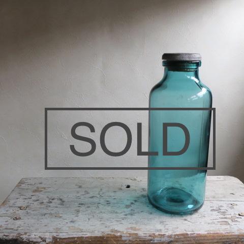 【Vintage/ヴィンテージ】蓋付きガラス瓶/フラワーベース ブルー