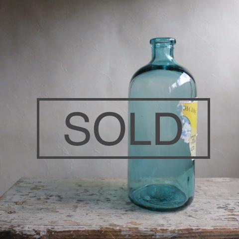 【Vintage/ヴィンテージ】ラベル付きガラス瓶/フラワーベース ブルー