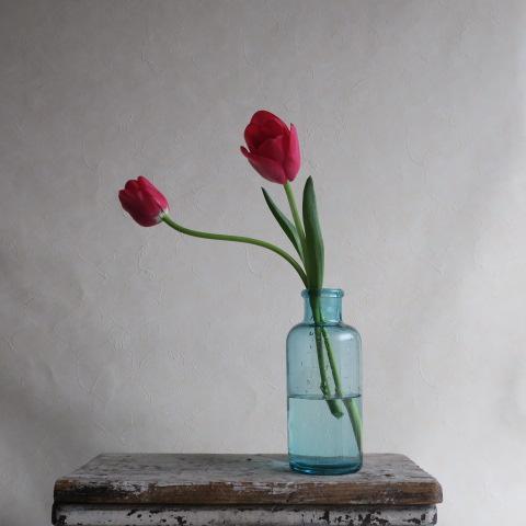 【Vintage/ヴィンテージ】ガラス瓶/フラワーベース ブルー