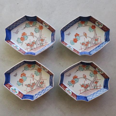 【Vintage/ヴィンテージ】色絵 菱形変形皿4枚セット