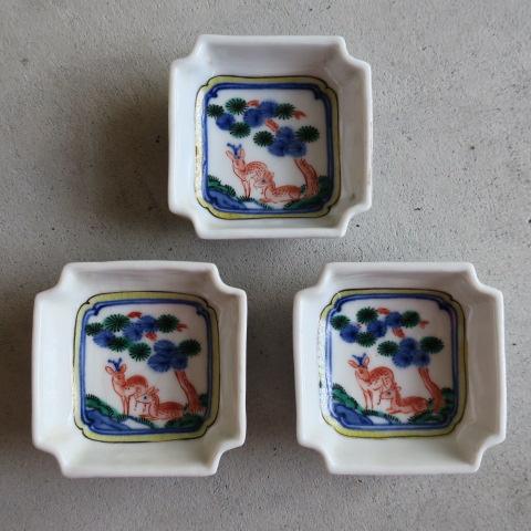 【Vintage/ヴィンテージ】色絵/鹿文 角小皿3枚セット