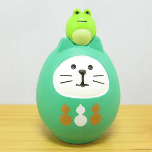 DECOLE(デコレ) concombre(コンコンブル) FUKU福MONO(フクモノ)シリーズ 開運カラー 福猫だるま・緑