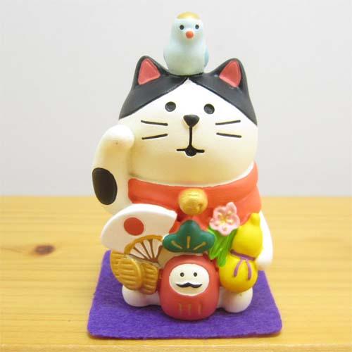 DECOLE(デコレ) concombre(コンコンブル) 開運 招福 松足神社 万福まねき猫(フェルトマット付き)