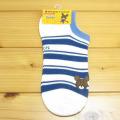 くまのがっこう スニーカー用ソックス 刺繍 ダブルライン ブルー