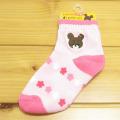 くまのがっこう キッズソックス 刺繍 花 ピンク