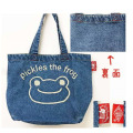 カエルのピクルス(かえるのピクルス) コットントートバッグシリーズ ピクルス 刺繍 トートバッグ デニム フェイス