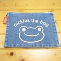 カエルのピクルス(かえるのピクルス) コットントートバッグシリーズ ピクルス 刺繍 クラッチバッグ デニム フェイス