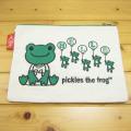 カエルのピクルス(かえるのピクルス) コットントートバッグシリーズ ピクルス 刺繍 クラッチバッグ 生成り 風船