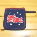 カエルのピクルス(かえるのピクルス) コットントートバッグシリーズ ピクルス 刺繍 ミニポーチ ネイビー きのこ