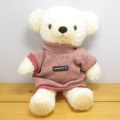 童心 日本製オリジナル くまのぬいぐるみ フカフカシリーズ クマのフカフカ Mサイズ クリーム(レッドセーター)