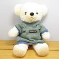 童心 日本製オリジナル くまのぬいぐるみ フカフカシリーズ クマのフカフカ Mサイズ クリーム(グリーンセーター)