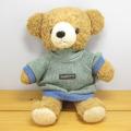 童心 日本製オリジナル くまのぬいぐるみ フカフカシリーズ クマのフカフカ Mサイズ ブラウン(グリーンセーター)