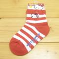 サンリオ ハローキティ(Hello Kitty) 刺繍キッズソックス 赤ボーダー