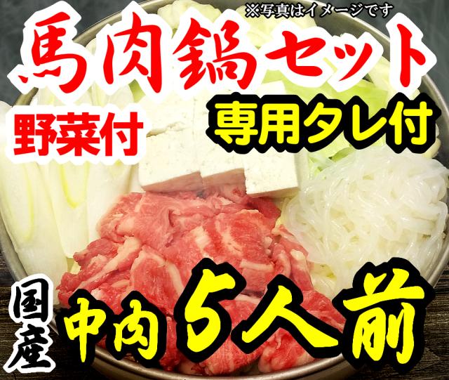 【D-15】さくら鍋セット5人前 赤身スライス 専用たれ付 野菜付 馬肉鍋 桜鍋