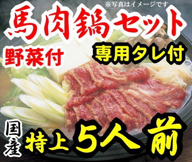 【D-35】特上さくら鍋セット5人前 赤身スライス 専用たれ付 野菜付 馬肉鍋 桜鍋