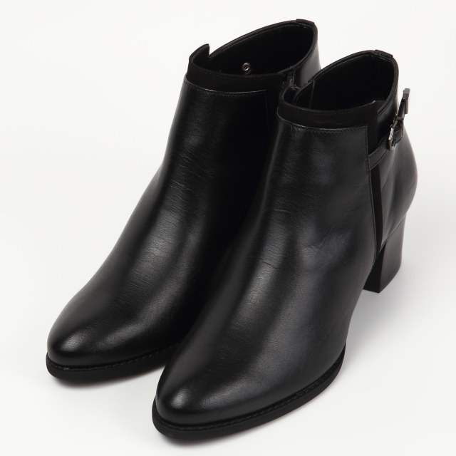 BARCLAYミドルヒールショートブーツ ブラック