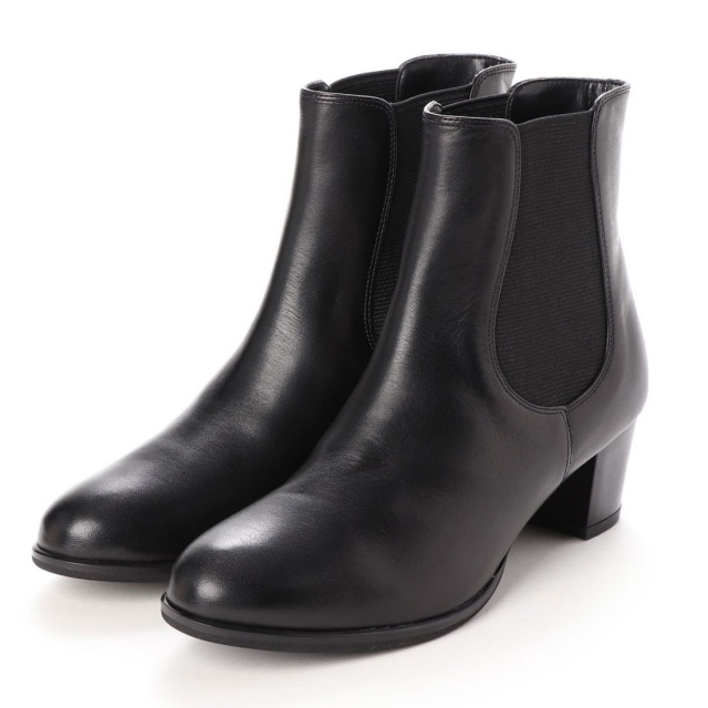 BARCLAY(バークレー)サイドゴアミドルヒールショートブーツ ブラック