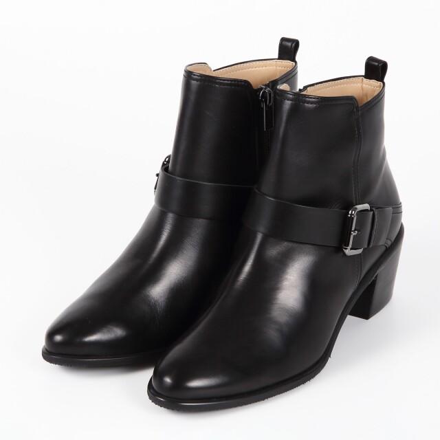 BARCLAY(バークレー) カーフレザーショートブーツ ブラック
