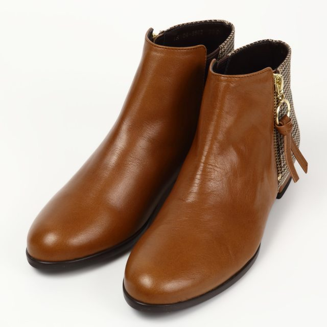 BARCLAY(バークレー) ジップアンクル丈ブーツ キャメルコンビ