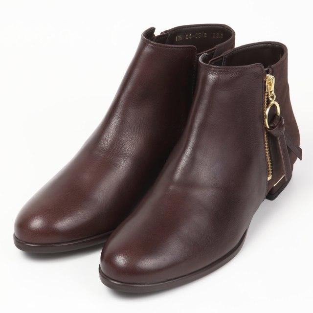 BARCLAY(バークレー) ジップアンクル丈ブーツ ダークブラウン