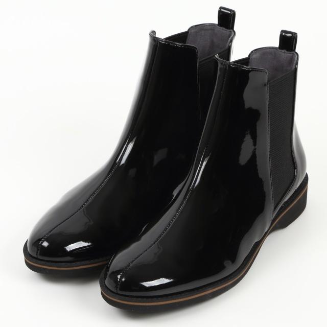 【予約販売】BARCLAY(バークレー) 変形サイドゴアレインブーツ ブラックエナメル