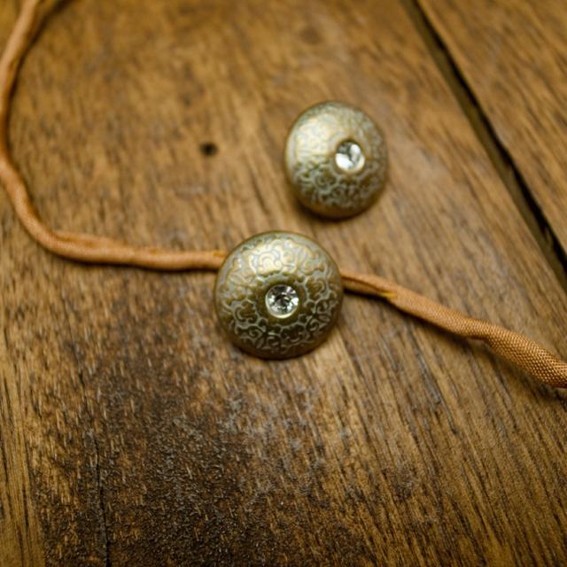【丸型(ヴィンテージデザイン)】真鍮×クリスタルラインストーンボタン#LC640