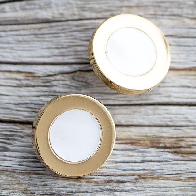 【デザイン貝ボタン(シェル×メタル)】ハンマーシェル×ゴールド 貝ボタン #BT196 1穴 20mm