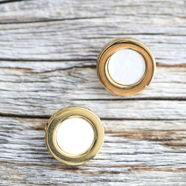 【デザイン貝ボタン(シェル×メタル)】ハンマーシェル×ゴールド 貝ボタン #BT196 1穴 15mm