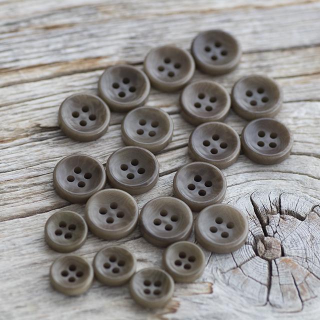 【丸型(厚みのあるボタン)】ナットボタン #ONT11H 4穴 C/#63カーキ 9mm5個&11.5mm15個シャツ用ボタンセット ***10%OFF***