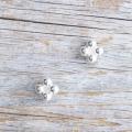 【花の形のボタン】スモールメタルボタン #BT250 1穴 9mm C/#AS ホワイト