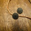 【丸型(ヴィンテージデザイン)】真鍮×クリスタルラインストーンボタン#LC653 1穴 C/#abn【アンティークブラックニッケル